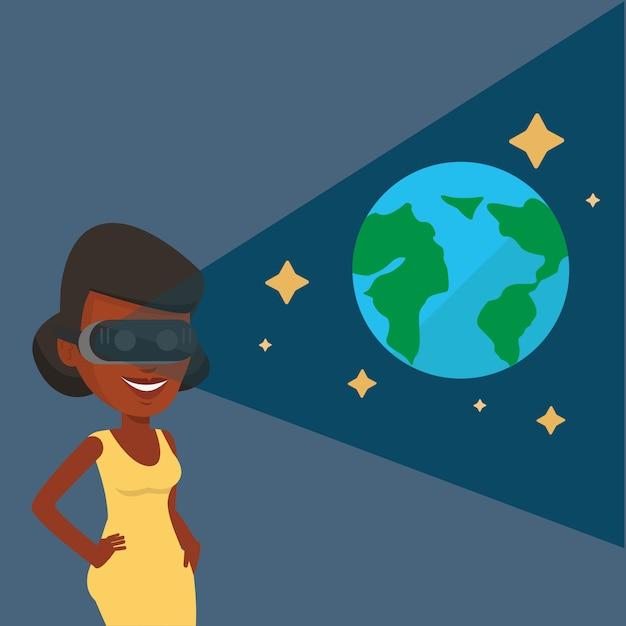 Женщина в шлемофоне vr получая в открытом космосе. Premium векторы
