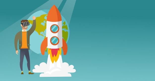 Кавказский человек в vr гарнитура летать в открытом космосе Premium векторы