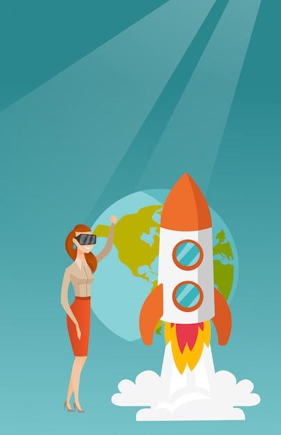 Кавказская женщина в vr гарнитура летать в открытом космосе Premium векторы