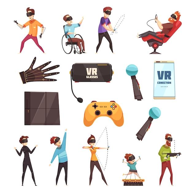 Набор аксессуаров для виртуальной реальности vr Бесплатные векторы