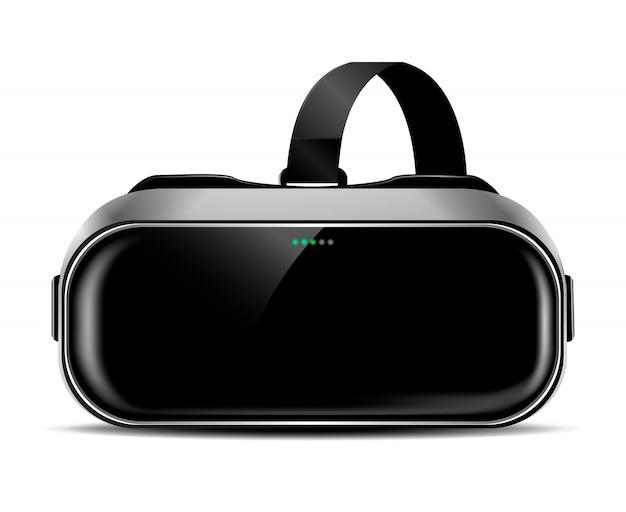 Vrヘルメットまたは影付きの仮想現実メガネ、正面図、リアルなクリップアート Premiumベクター