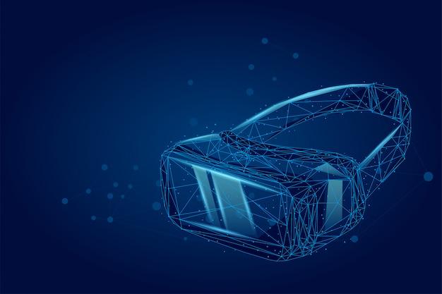 Абстрактная линия и точка vr гарнитура голографическая проекция очки виртуальной реальности Premium векторы