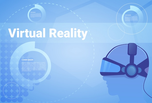 Виртуальная реальность фон с копией пространства человек, носящий очки vr Premium векторы