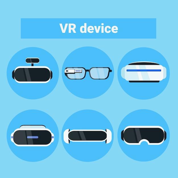 Vrデバイスアイコンモダンなバーチャルリアリティゴーグル、メガネとヘッドセットのコレクションのセット Premiumベクター