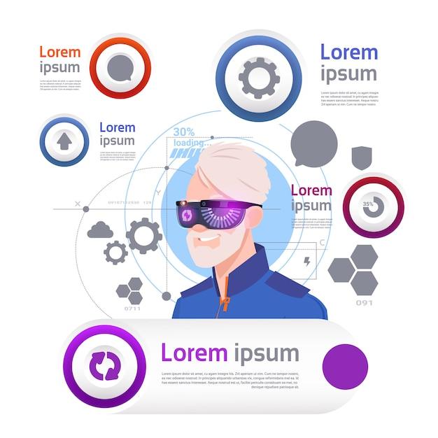 テンプレートインフォグラフィック要素バーチャルリアリティ概念のセットの上のvrメガネを着た男 Premiumベクター