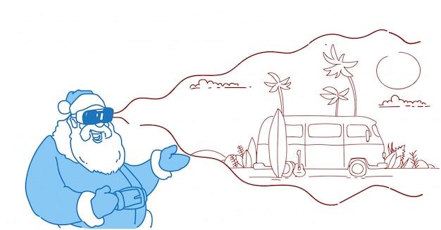 サンタウェアデジタルメガネバーチャルリアリティヴィンテージサーフバス日没熱帯ビーチ夏休みvrビジョンヘッドセットフラット Premiumベクター