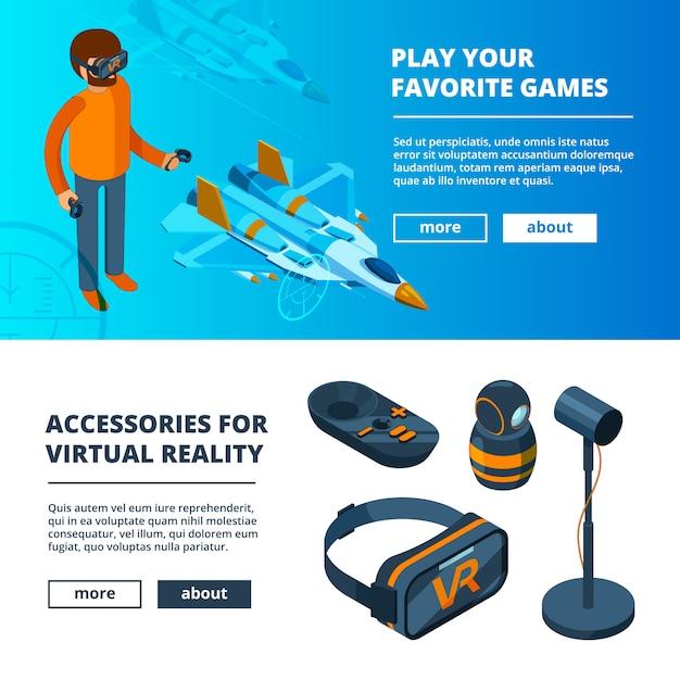 Vr баннеры. виртуальная игра симулятор портативной реальности оборудование шлем гарнитура очки изометрические картинки Premium векторы