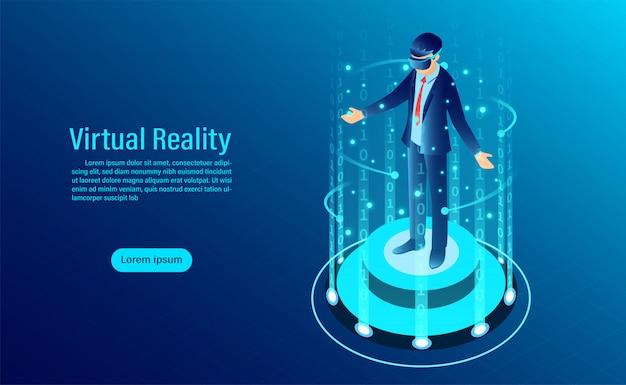仮想現実の世界に触れるインターフェイスでゴーグルvrを着た男。未来の技術 Premiumベクター