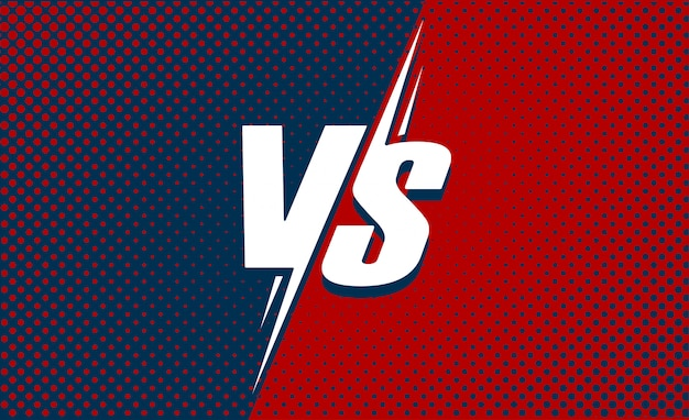 Vs or versus text poster for battle or fight game flat cartoon with red and dark blue halftone background Premium Vector