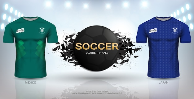 日本vsメキシコサッカージャージーテンプレート。 Premiumベクター