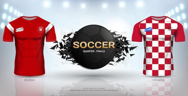 ロシアvsクロアチアサッカージャージーテンプレート。 Premiumベクター