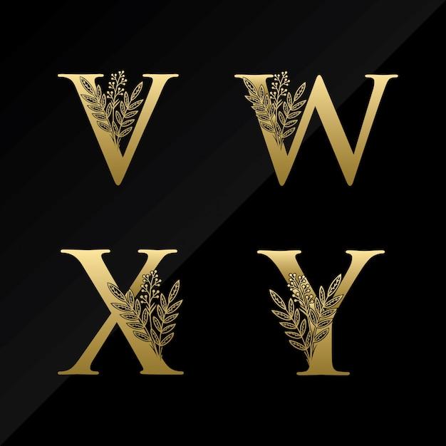 Начальная буква vwxy с простым цветком в золотом цвете Premium векторы
