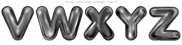 Черные латексные надутые символы алфавита, отдельные буквы vwxyz Premium векторы