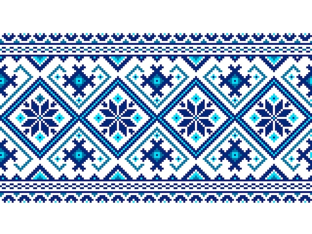 ウクライナの民間のシームレスなパターンの装飾のベクトル図。エスニック飾り。境界要素。伝統的なウクライナ語、ベラルーシ語の民族芸術ニット刺繍パターン -  vyshyvanka 無料ベクター