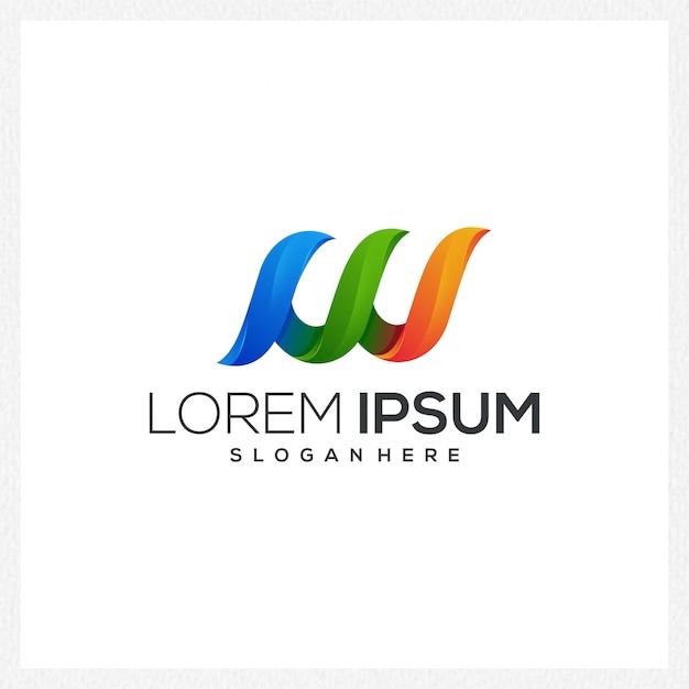 W дизайн логотипа значок fulcolor colection компания простой специальный Premium векторы