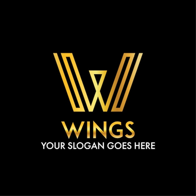 W letter abstract wings modern business logo Premium Vector