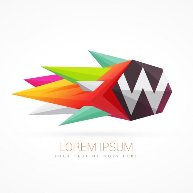 Красочные абстрактного логотип с буквой w Бесплатные векторы