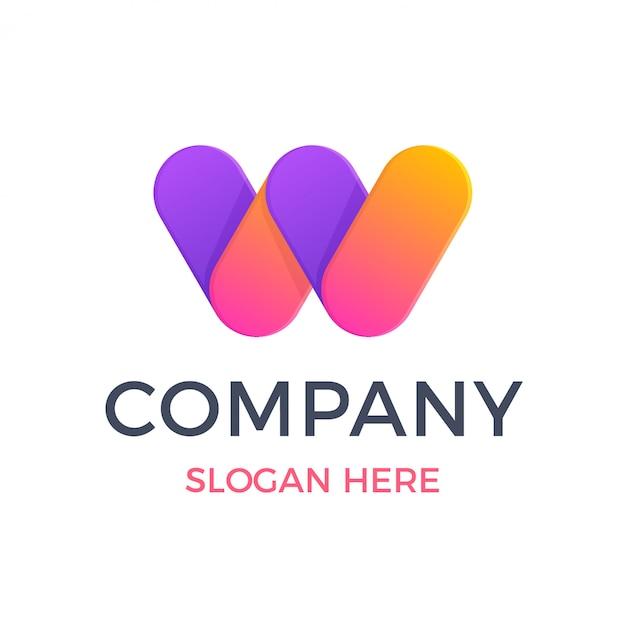 Современная жирная буква w с градиентным наложением логотипа Premium векторы