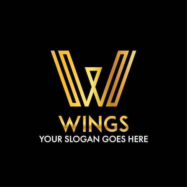 W письмо абстрактные крылья современный бизнес логотип Premium векторы