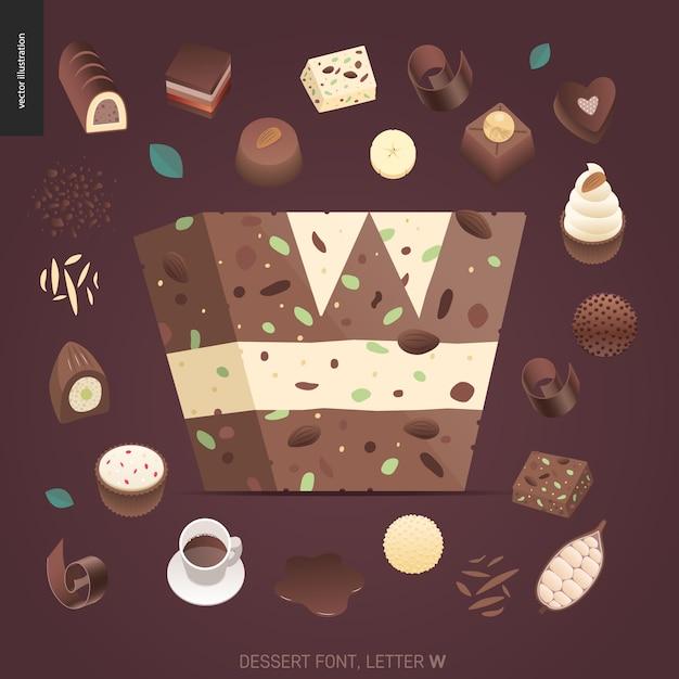 デザートフォント - 文字w  - モダンなフラットベクトル概念デジタルイラスト誘惑フォント、甘いレタリング。キャラメル、タフィー、ビスケット、ワッフル、クッキー、クリーム、チョコレートの手紙 Premiumベクター