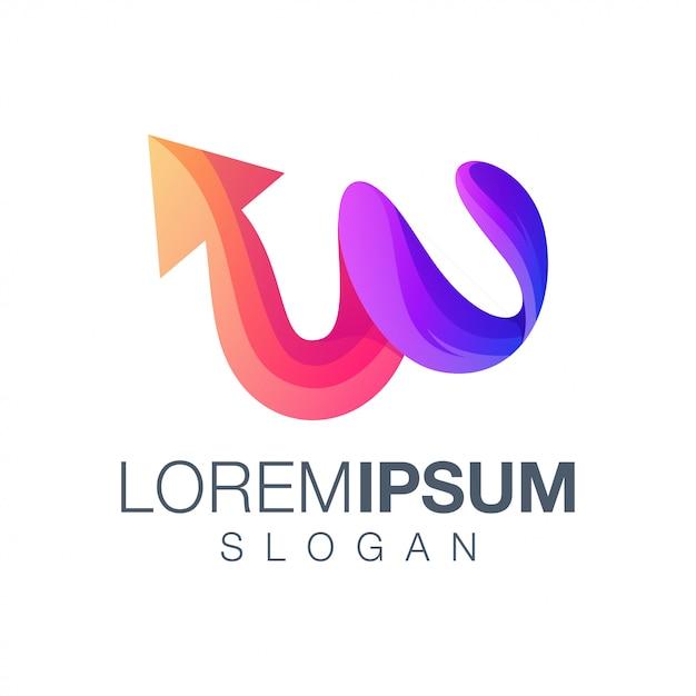 Буква w стрелка логотип Premium векторы
