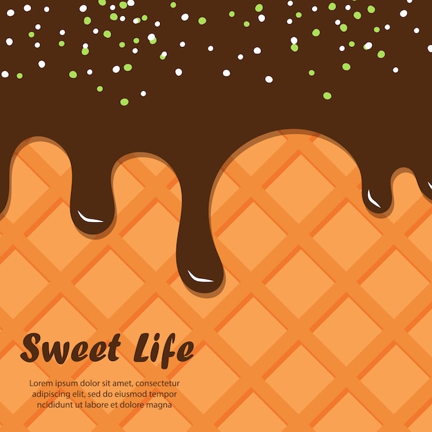 Wafer and chocolate background Premium Vector