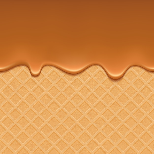 Wafer and flowing caramel Premium Vector