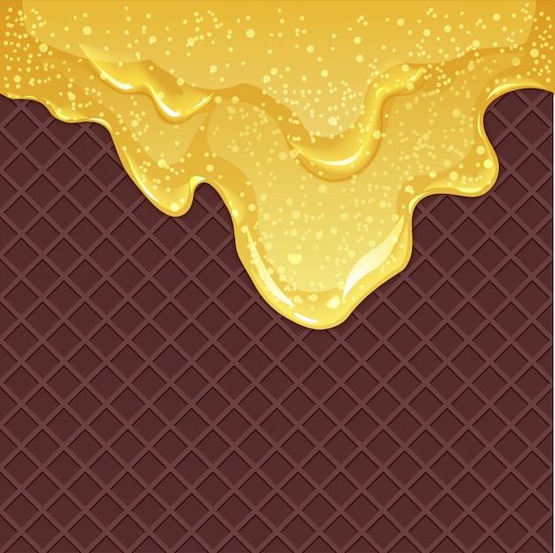 Вафельный фон с медом Premium векторы