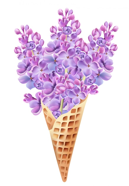 Waffle cone filled with lilac flowers. Free Vector