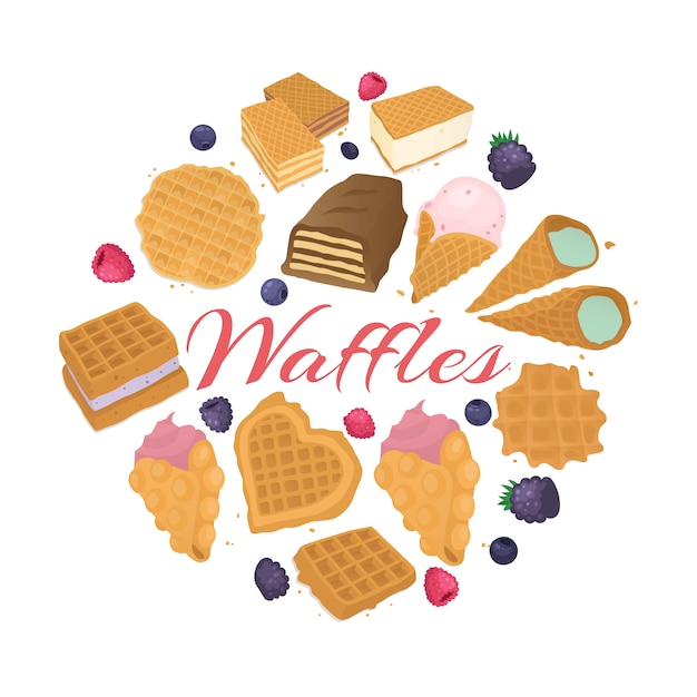 Waffle dessert food backgrond,  illustration. tasty lunch meal, wafer snack with cream at bakery, delicious breakfast. Premium Vector