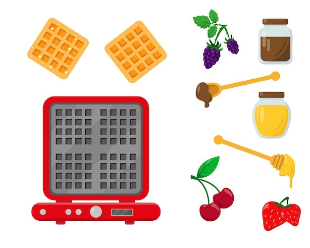 Вафельница с вафлями и ингредиентами для сервировки и украшения. Premium векторы