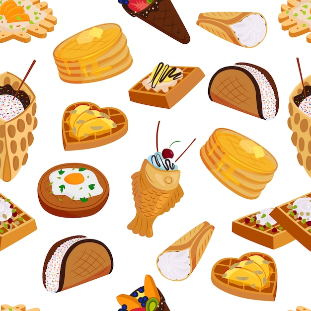 Вафельные сладкие печенья бесшовные модели плоский стиль иллюстрации. вафельные вкусные запеченные кондитерские торты, бисквит, сливочный хрустящий десерт, закуска Premium векторы
