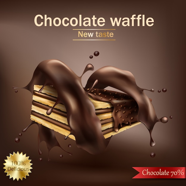 Waffle with chocolate filling wrapped in spiral melted chocolate Free Vector