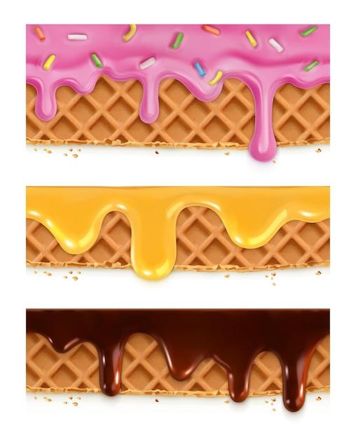 Вафли шоколадные, мед, глазурь, бесшовные горизонтальные узоры Premium векторы