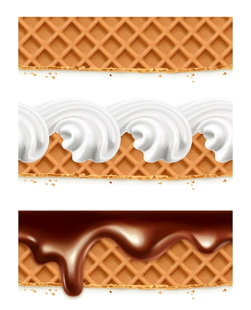 Waffles, chocolate, whipped cream,  seamless horizontal patterns Premium Vector