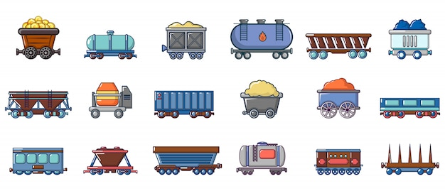 Wagon icon set. cartoon set of wagon vector icons set isolated Premium Vector