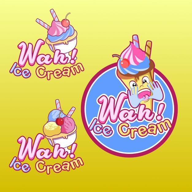 Wah ice cream logo Premium векторы