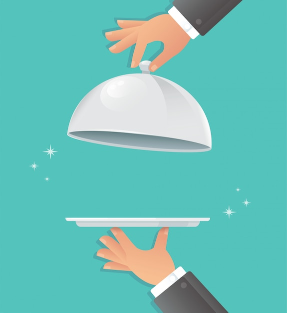 Waiter hands with silver cloche. Premium Vector