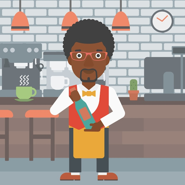 Waiter holding bottle of wine. Premium Vector