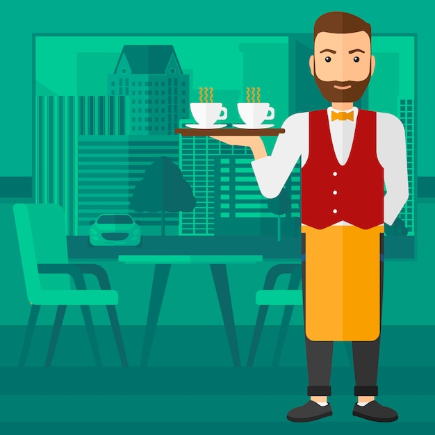 Waiter holding tray with beverages. Premium Vector