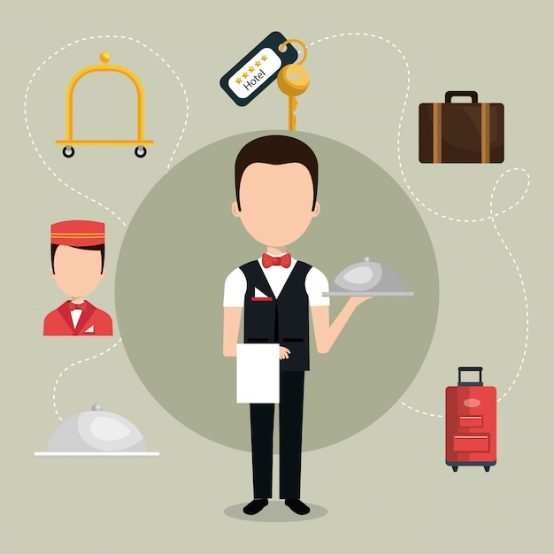 Waiter working in the hotel character Free Vector