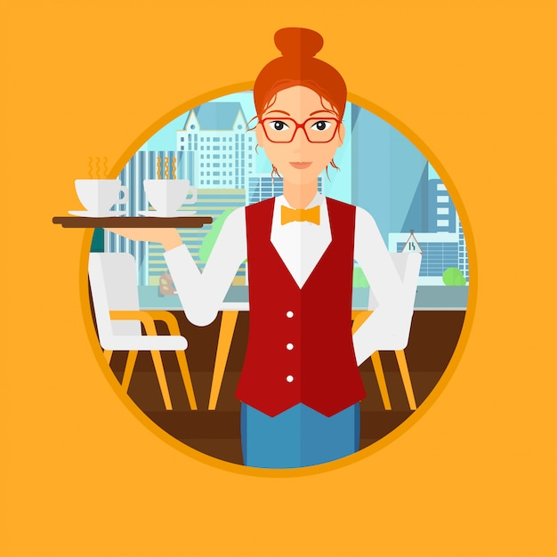 Waiteress holding tray with cups of coffeee. Premium Vector