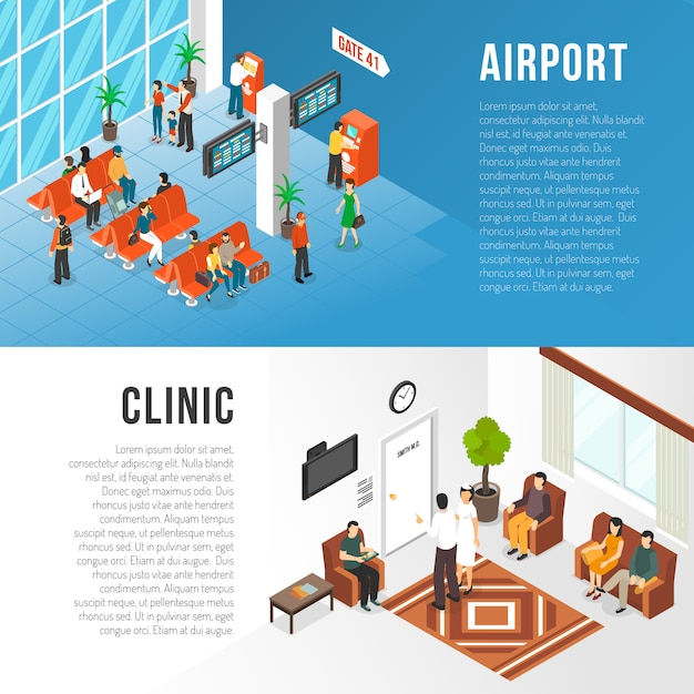 Waiting area banners set Free Vector