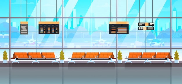 Waiting hall or departure lounge modern airport interior terminal Premium Vector