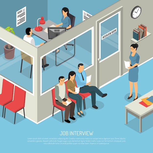 Waiting for interview composition Free Vector