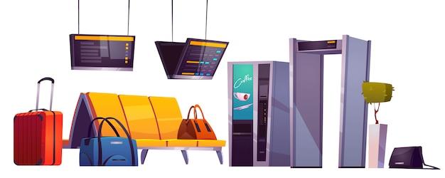 Sala d'attesa nel terminal dell'aeroporto con sedie, bagagli, scanner di sicurezza e visualizzazione degli orari Vettore gratuito