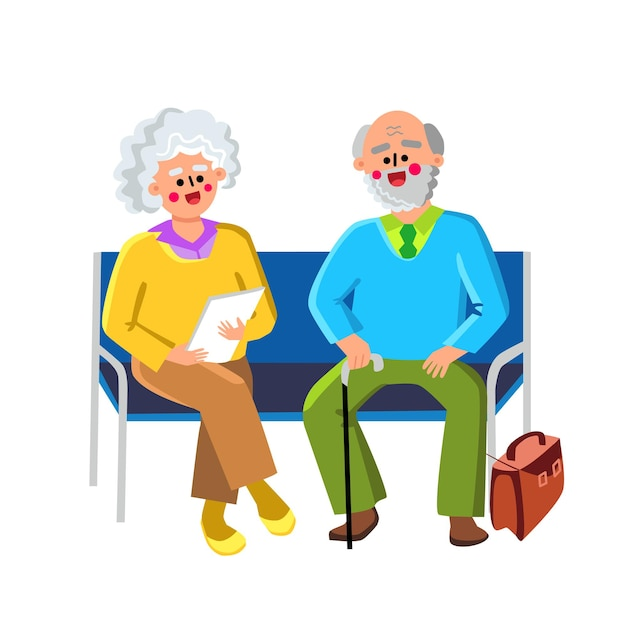 Waiting room sit on chairs elderly people vector. happy senior man and woman couple sitting on benc