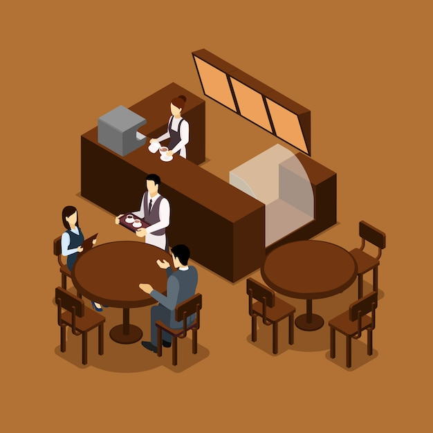 Waitress barista people isometric brown poster Free Vector