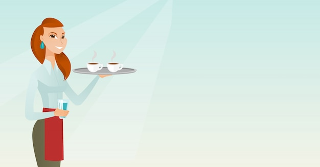 Waitress holding tray with cups of coffeee or tea. Premium Vector