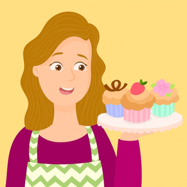 Waitress showing a plate of cupcakes Premium Vector
